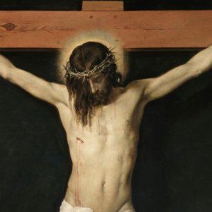 Maleri av Jesus på korset.
